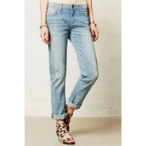 Pilcro Hyphen Distressed Splatter Cropped Jeans